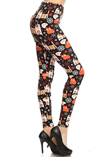 Leggings Depot Women's Ultra Buttery Soft Christmas Print Fashion Leggings (Winter Cat, Extra Plus (1X-3X / Size 14W-22W))