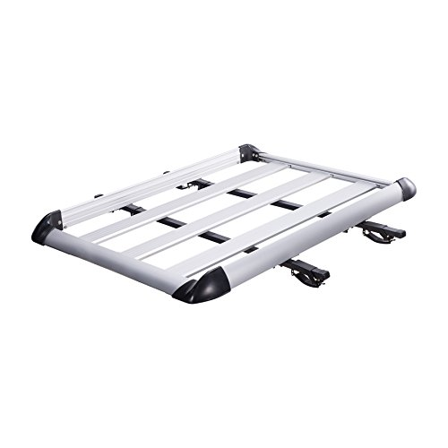 Orion Motor Tech Universal Lightweight Aluminum Roof Rack Cargo Luggage Basket Carrier with Crossbars, 441 Lb. Capacity (50