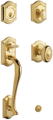 Baldwin 85327.003.ENTR Bethpage Sectional Trim Handleset with Bethpage Knob, Lifetime Polished Brass