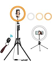 """12"""" Ring Light with Tripod Stand - 10 Brightness & 3 Light Modes for Selfie, Vlog, YouTube Video, TIK Tok, Live Stream - Compatible with iPhone, Camera, Cell Phone - LIGVIV 6 in 1 Lighting Kit."""