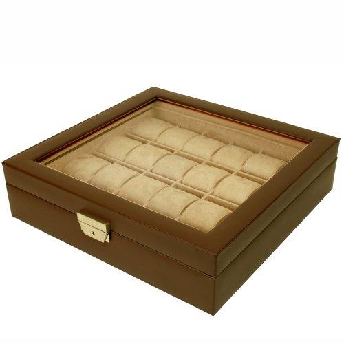 Tech Swiss TS5849BRN Leather Extra Large Watch Box