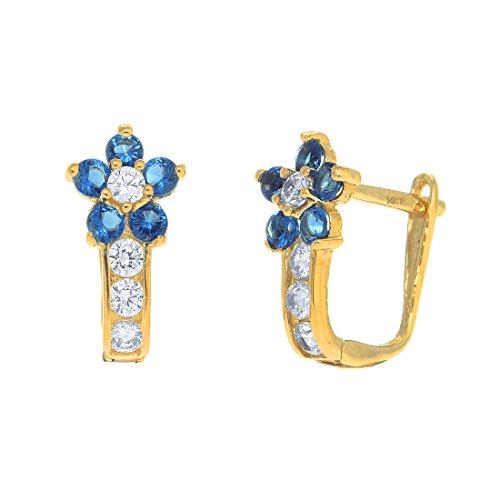 JewelStop 14k Yellow Gold Cz Blue Flower Huggie Hoop Earrings, 1.43gr. -  43216-172182