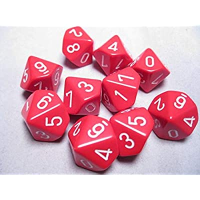 Chessex Dice Sets: Opaque Red with White - Ten Sided Die d10 Set (10): Toys & Games