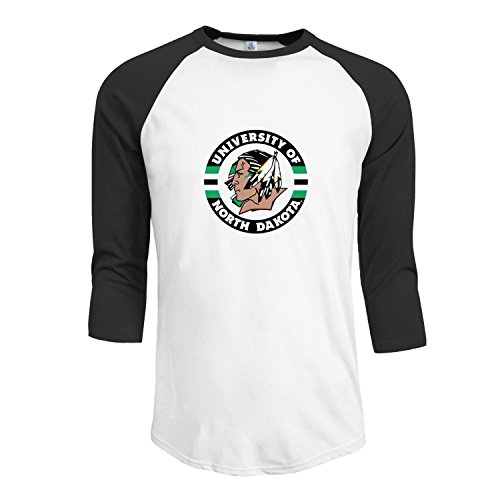 UND University Of North Dakota Fighting Sioux Men's Fitted Raglan T shirt Black