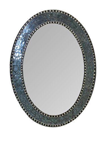 DecorShore 32.5 in. x 24.5 in. Decorative Wall Mirror, Oval Frame, Colorful -