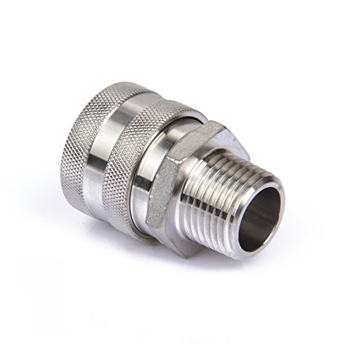 Home Brewing 304 Stainless Steel Quick Disconnect Set Home Brew Fitting Connector Homebrewing (QD Female 1/2 NPT)