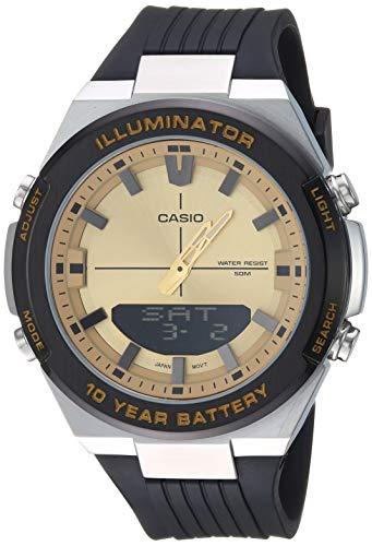 Casio Men s Illuminator Stainless Steel Quartz Watch with Polyurethane Strap, Black, 20.9 Model AMW-860-9AVCF