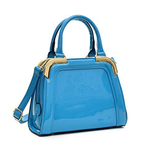 Dasein Small Patent Leather Satchel Handbags Women Structured Shoulder Bag (2411 Blue)) ()