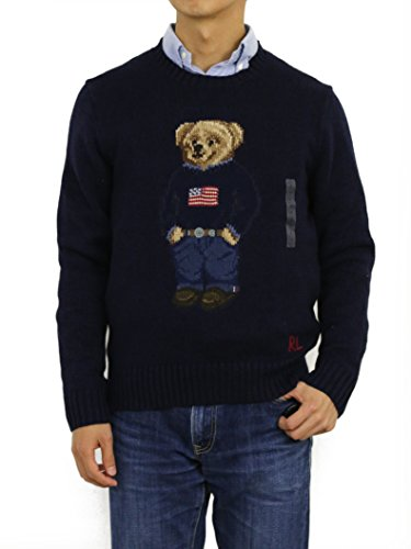 Polo Ralph Lauren Men's Polo Bear Cable Knit Sweater (S, Navy)