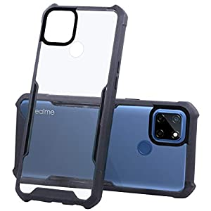 Jkobi Hard PC Crystal Bumper Shockproof Back Cover Case for Realme Narzo 30A with Camera Protection (Matte Black)