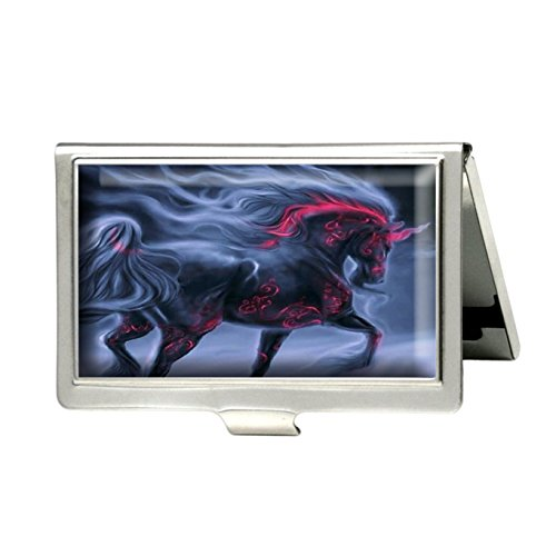 Caikem Black Unicorn Horse Custom Personalized Stainless Steel Silver Business Card Holder Pocket Business Name Credit Card ID Card Wallet