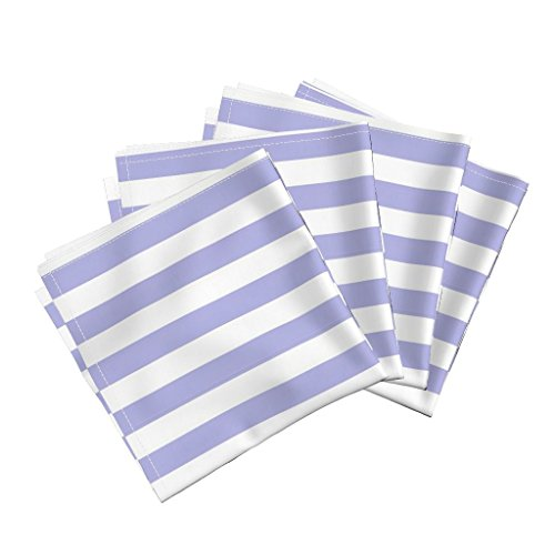 Roostery Regency Periwinkle Lilac Lavender Blue And White Stripe Nursery Linen Cotton Dinner Napkins Vertical Stripe ~ Regency And by Peacoquettedesigns Set of 4 Dinner (Regency Stripe)