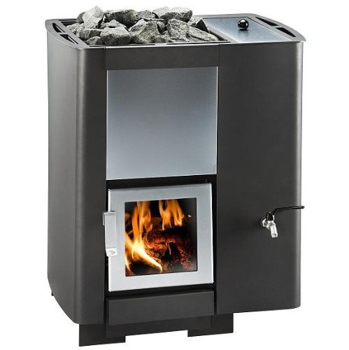 Burning sauna heater with a smooth, dark gray interior.