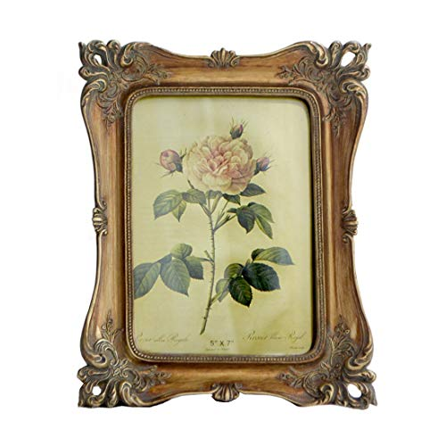 SIKOO Vintage Picture Frame 5x7 Antique Tabletop and Wall Hanging Photo Frame with Glass Front for Home Decor (Bronze Gold) (Antique Victorian Frame)
