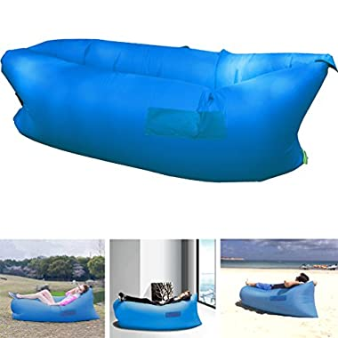 Henscoqi Outdoor Convenient Inflatable Lounger Counch Hangout Portable Air Sleeping Bag Air Sofa Air Bed for Summer Camping Beach,DarkBlue