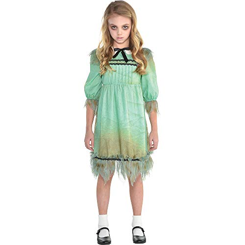 Suit Yourself Creepy Girl Costume for Girls, Size Medium, Tattered Dress Features Dirt Smears and a Peter Pan Collar