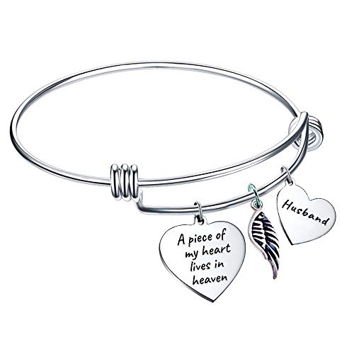 Elegant Chef Husband Memorial Bangle Bracelet- A Piece of My Heart Lives in Heaven- Remembrance Sympathy Gift