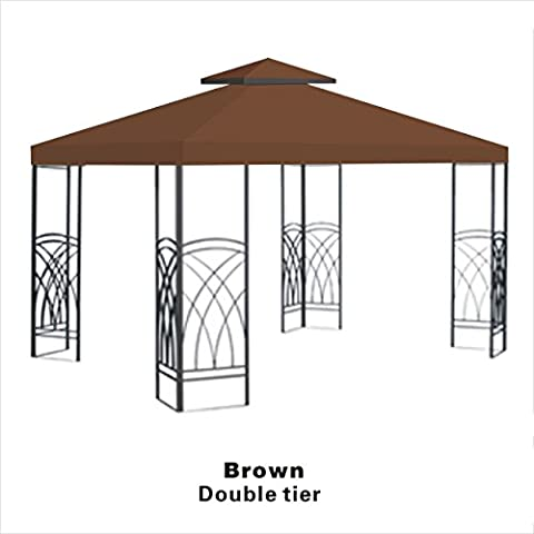 STRONG CAMEL 2-Tier double tier Replacement Wedding Party Tent Cover 10'x10' Polyester Gazebo Canopy Top-brown - Party Tent Replacement