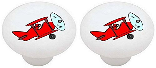 Drawer Knob Plane (SET OF 2 KNOBS - Red Colorful Airplanes Airplane Plane - DECORATIVE Glossy CERAMIC Drawer PULLS Dresser Drawer KNOBS)