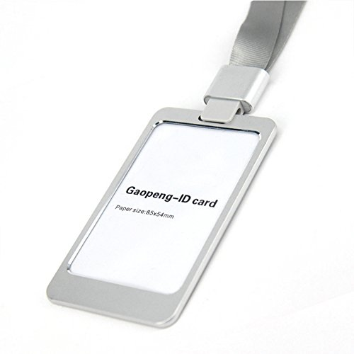 Neutral Business Duplex Metal ID Badge Holder / Lanyard With Id Holder Vertical (Silver)