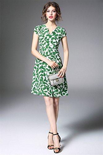 Women`s Cotiledone Abiti Stampati In Seta Verde Vestito Casuale Elegante Scollo A V