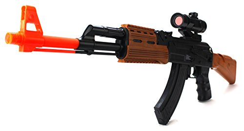 Huge 32 Inch Army Force AK-47 Childrens Kids Battery Operated Flashing Lights and Sounds, Vibrating Toy Gun