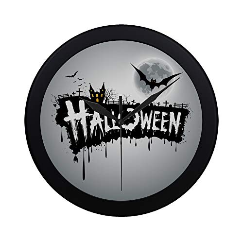 Modern Simple Halloween Text Design Vector Illustration On Gray Pattern Wall Clock Indoor Non-ticking Silent Quartz Quiet Sweep Movement Wall Clcok For Office,bathroom,livingroom Decorative 9.65 Inch