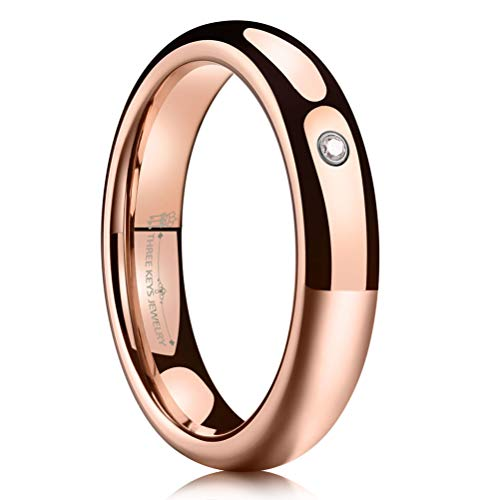 THREE KEYS JEWELRY 4mm Rose Gold Tungsten Wedding Ring High Polished CZ Inlay Dome Wedding Band Engagement Ring Size 4