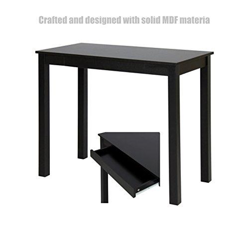 Koonlert Shop Modern Computer Desk PC Laptop Wood Table Solid MDF Material Multi-Purpose Workstation Home Office Furniture Metal Frame - with Drawer Black #1144b