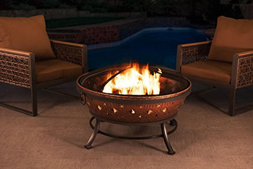 Sunjoy L-FT629PST Squaw Valley Firepit, Cozy Warmth - Large fire bowl gives cozy warmth to your patio, backyard, deck, lawn, or garden Spark guard protects against embers Each leg has a scuff protector to protect floors or surfaces from marring or impairment - patio, outdoor-decor, fire-pits-outdoor-fireplaces - 41XhJMmVj3L -