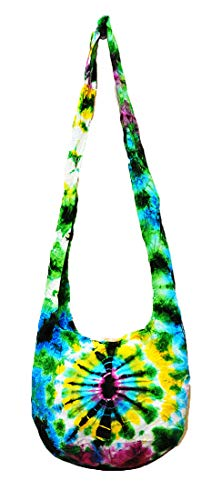(Thai Hippie Tie Dye Hobo Sling Crossbody Shoulder Bag Purse Handmade Mix Pattern Cotton Button Gypsy Boho Messenger Small (S1124))
