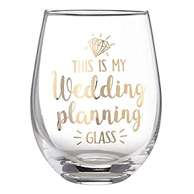 "Lillian Rose G117 WP Wedding Planning Stemless Wine Glass, 4.75"" H, Gold"