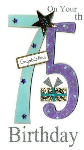 Purple Blue Number Cut Out On Your 75th Birthday Handmade Greeting Card
