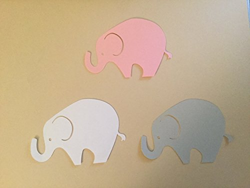 (24 Light Gray White Pink Elephant Cutout 3 3/4 Inch Elephant Cut Outs Large Elephant Diecut Elephant Baby Shower Elephant Theme)