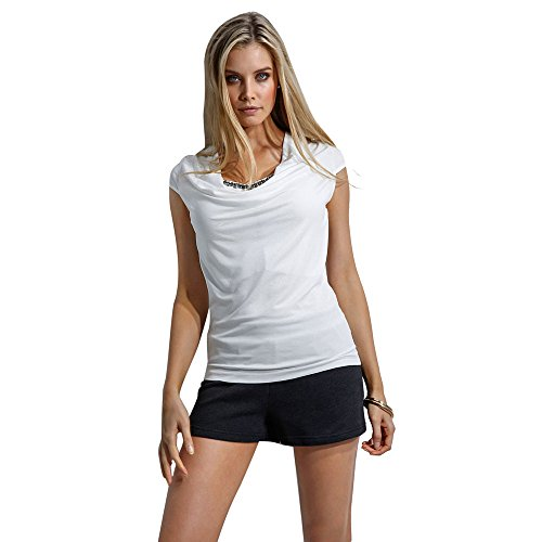 Ularma Blusa de las mujeres, camiseta Casual Tops de manga corta de verano blanco
