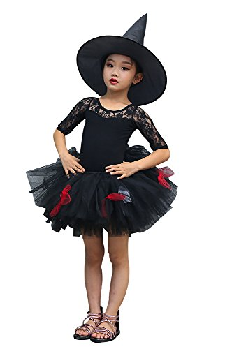 AQTOPS Girls Evil Tutu Skirts Halloween Fluffy Tutus with Witch Hat