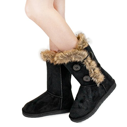 Winter Button 2 Faux Women Black Boots Sheepskin Fur fgAqx