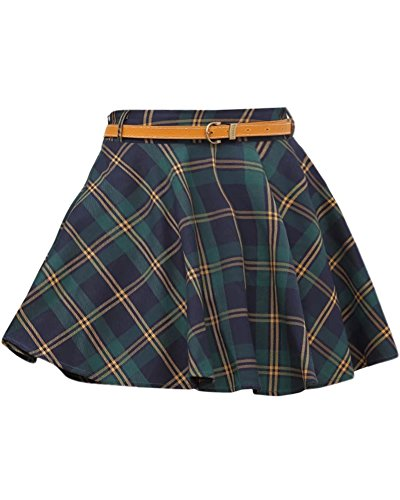 Cheap LATUD Women's Flared Plaid Skirt hot sale