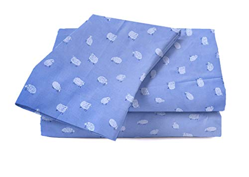 (kensie Microfiber Bedding Farm Animal Sheep Lamb Sheet Set - Counting Sheep Sheets (Blue Heather,)