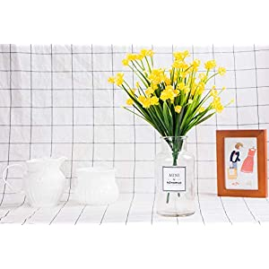 Foraineam 10 Bundles Yellow Daffodils Artificial Flowers Fake Plants Plastic Bushes Greenery Shrubs Fence Indoor Outdoor Hanging Planter Home Garden Decor 5