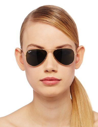 ray ban aviator 55  Amazon.com: Ray-Ban AVIATOR SMALL METAL - ARISTA Frame CRYSTAL ...