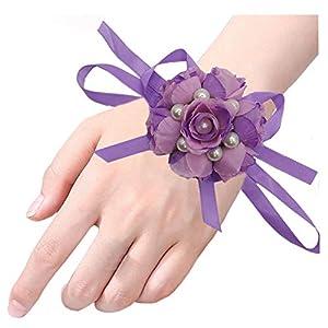 Arlai Set of 2,Wedding Bridal Bridesmaid Wrist Flower Wrist Corsage Party, Wedding, Prom Purple 18
