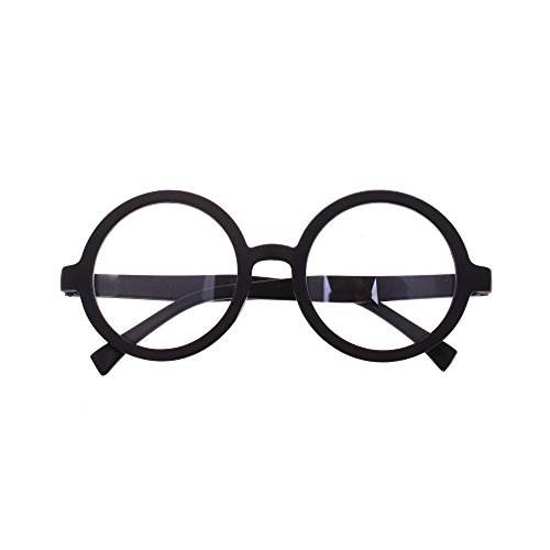 BCP Plastic Matte Black Round Frame Eyeglasses Costume Party