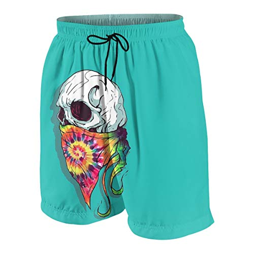 Skull Hipster Tie Dye Facecloth Boys Swim Trunks Quick Dry Beachwear Sports Running Swim Board Shorts White