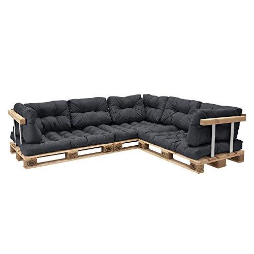 [en casa]] Set de 11 Cojines para sofa-pale - Cojines de Asiento + Cojines de Respaldo Acolchados [Gris Oscuro] para europale In/Outdoor