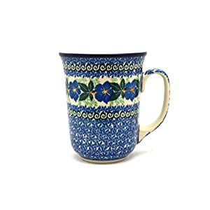 Polish Pottery Mug – 16 oz. Bistro – Blue Pansy