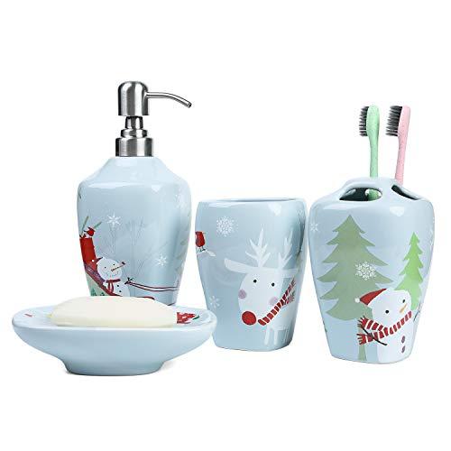 Snowman Soap Dispenser (FORLONG FL3018 Ceramic Bathroom Accessories Set of 4:1 Tumbler,1 Toothbrush Holders,1 Soap Dishes,1 Soap Dispenser(Christmas)