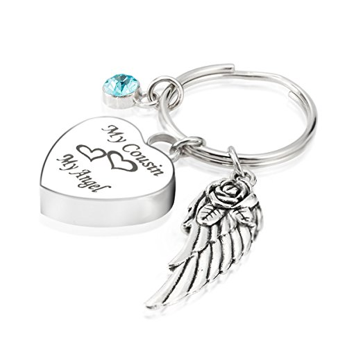 Engraved Personalised My Cousin My Angel Cremation Urn Jewelry Keychain Memorial Ash Keepsake December Turquoise Birthstone Angel Wings Charms (Engraved Turquoise Pendant)