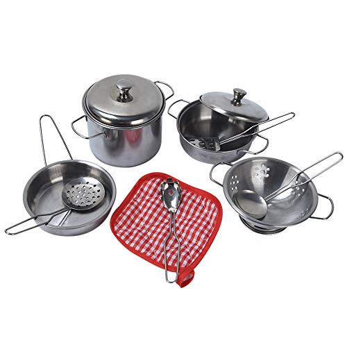 FarJing 11Pcs Stainless Steel Pots Pans Cookware Miniature Toy Pretend Play Gift for Kid by FarJing (Image #1)