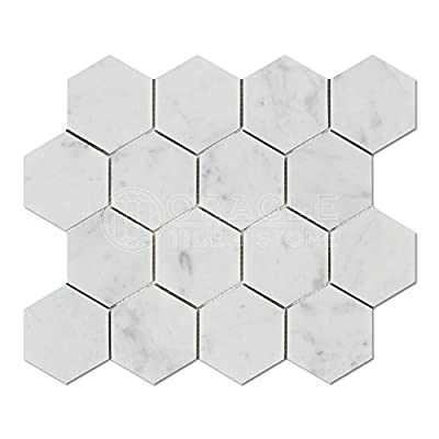 Carrara White Italian Carrera Marble Hexagon Mosaic Tile 3 inch Honed by Stone Center Online